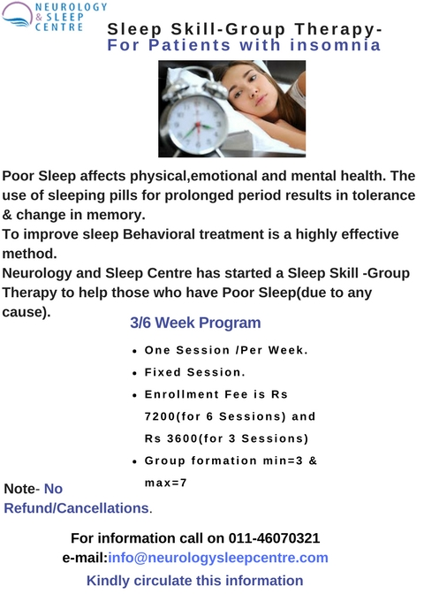 Sleep SKILL-GROUP THERAPY-For Patients with insomnia